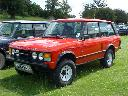 Red standard 2 door Range Rover